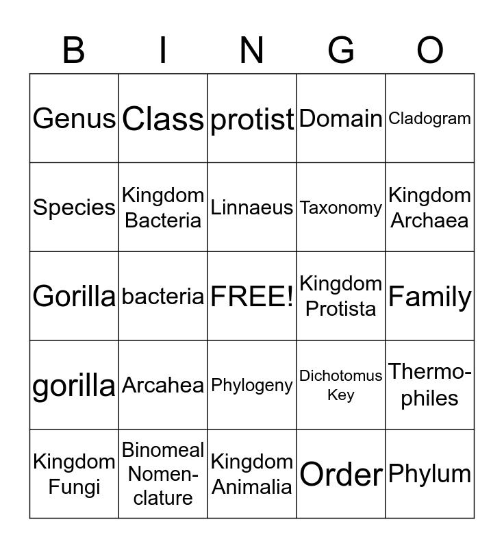 Taxonomy & Phylogeny Bingo Card