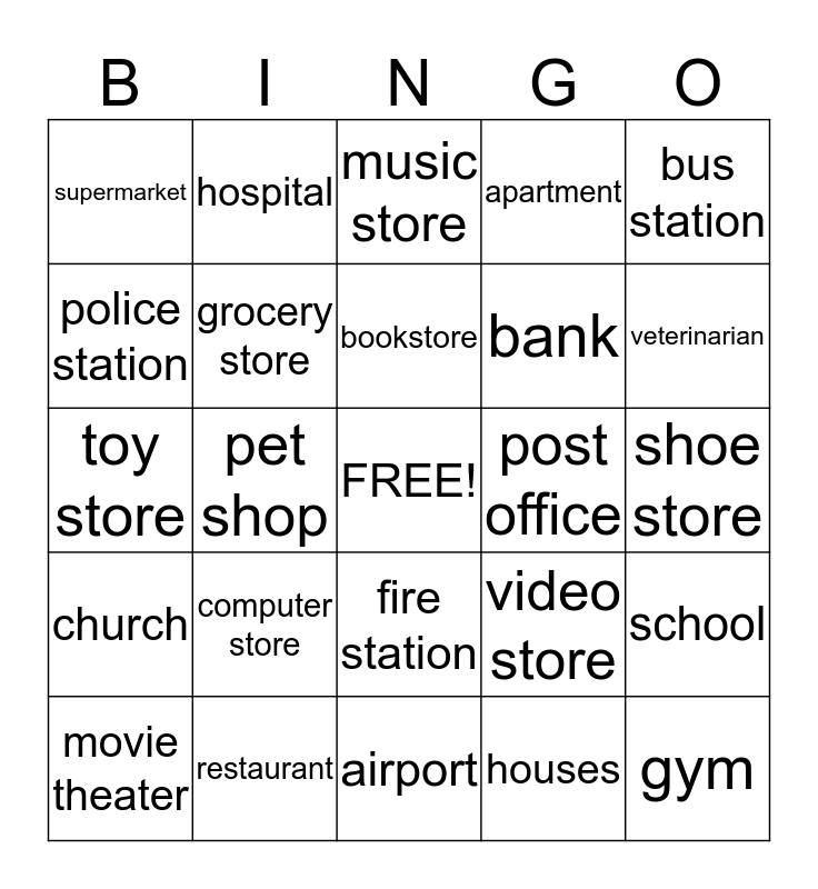 My neighborhood Bingo Card