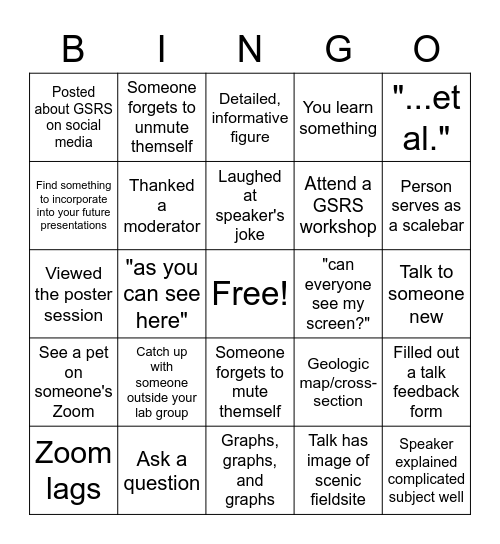 GSRS 2021 Bingo Card