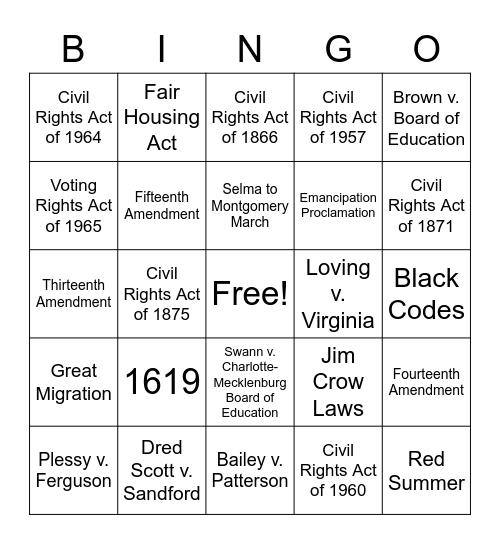 Black History Month - Game 2 Bingo Card