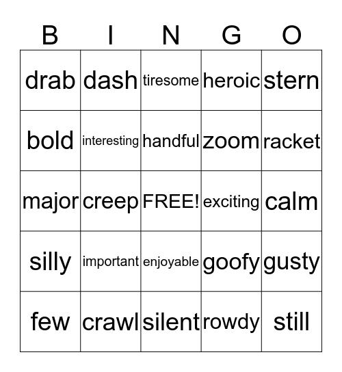 W O R D O Bingo Card