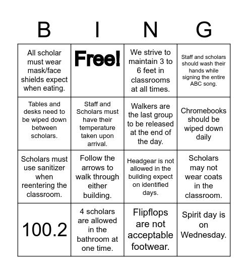 Procedures and Policies Bingo Card