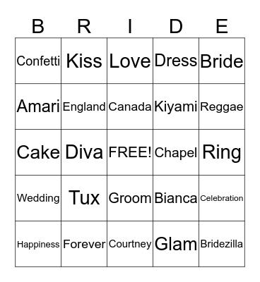 Bianca's Big Day Bingo Card
