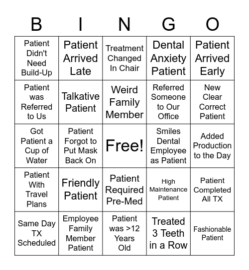 Smiles Dental Bingo Card