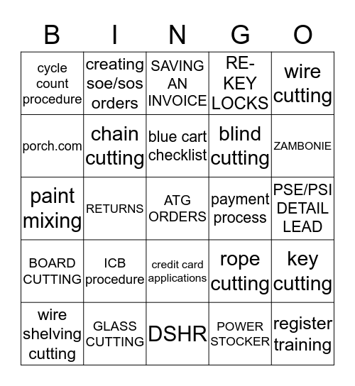 1829 BINGOMANIA Bingo Card