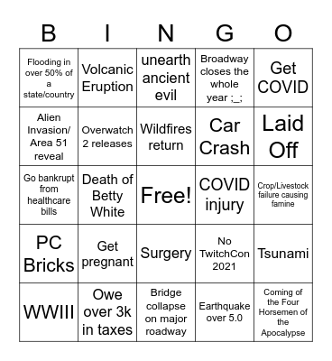 2021 Disaster Bingo Card