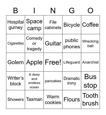 Stranger Than Fiction Bingo Card