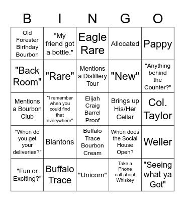 Whiskey Bingo Card