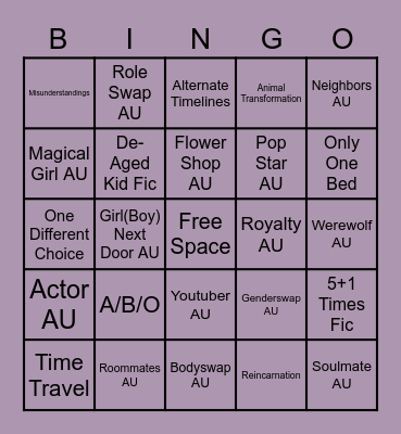 Trope Bingo Card