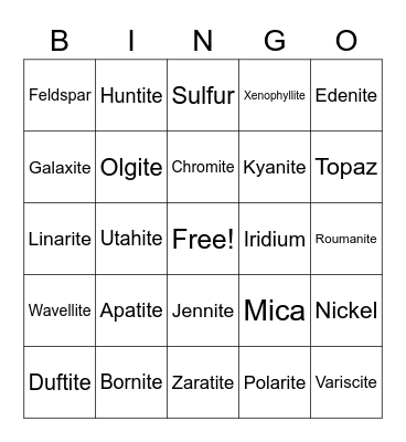 Science Minerals Project: Bingo 2 Bingo Card