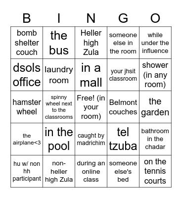 Heller high hu bingo board Bingo Card