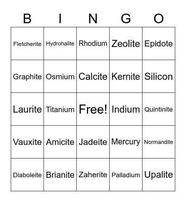 Science Minerals Project: Bingo 3 Bingo Card