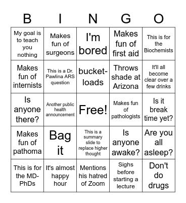 Grande Bingo Card