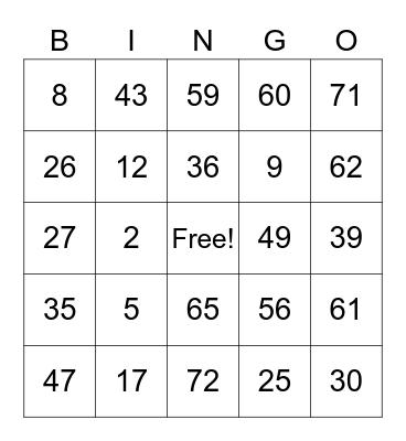 Tessa's Card Bingo Card