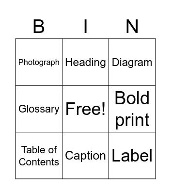 Text Feature Bingo Card