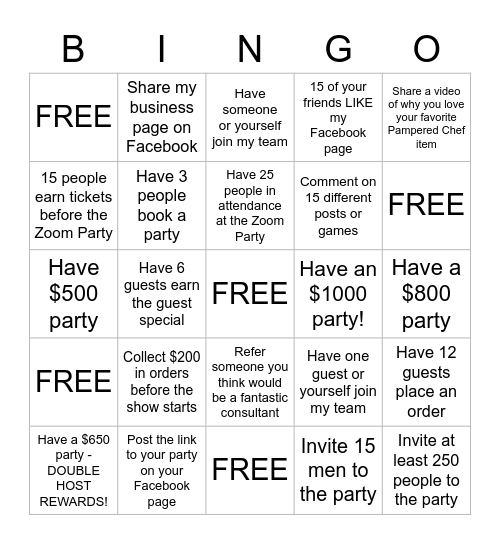 The Pampered Chef ZOOM BINGO Card