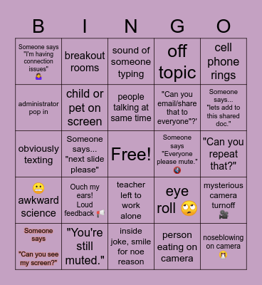 Virtual Teacher Meeting Bingo Card
