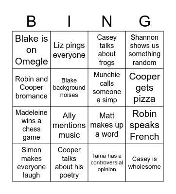 Cafe Bingo Card