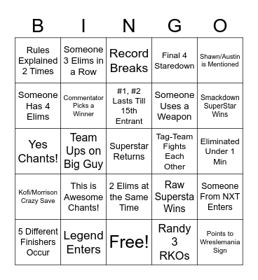 Royal Rumble Bingo Card