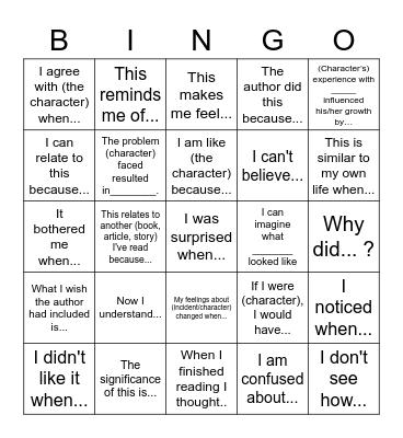 Number the Star - Reader Response Bingo Card