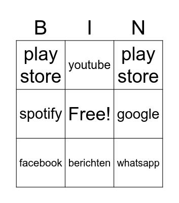 alle apps Bingo Card