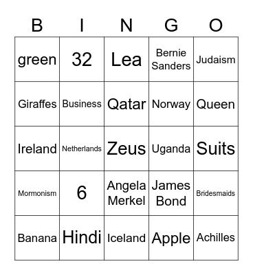 Kim's amazing Bingo Quiz! Bingo Card
