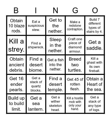 Minecraft Bingo! Bingo Card