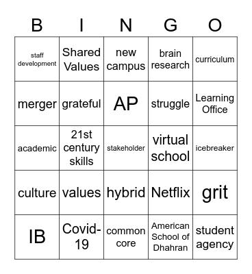 ASD Whole Staff Meeting Bingo ! ! ! Bingo Card