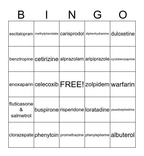 Brand/Generic Bingo Card