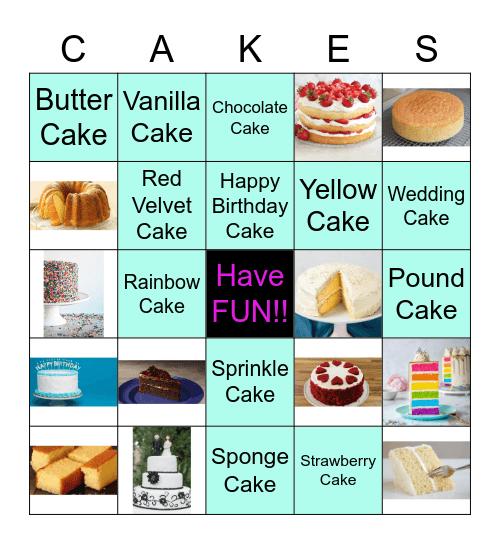 Types of Cakes Bingo Card