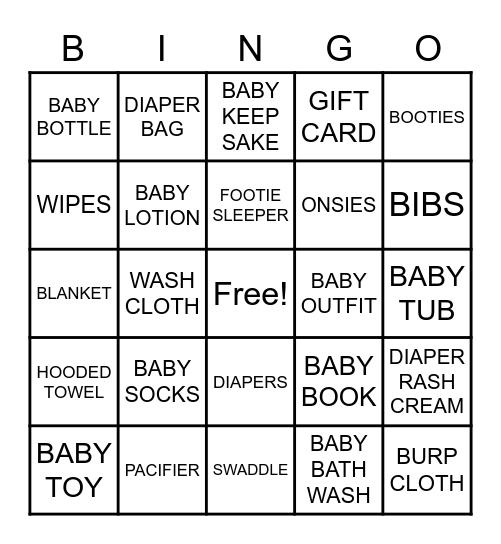 Taylor's Baby Shower Bingo Card