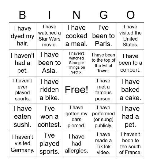 Present Perfect Bingo Card