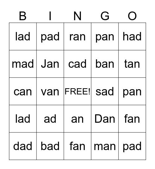 -an & -ad Bingo Card