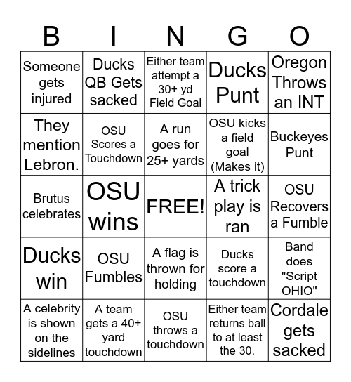 Buckeye Bingo Card