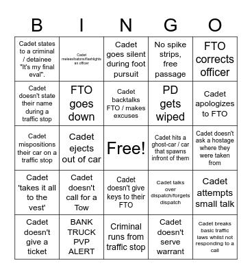 Cadet Final Eval Bingo Card