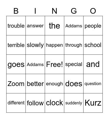 Snap Word Bingo Card