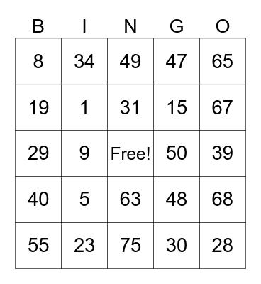 T2 Bingo Cards Bingo Card