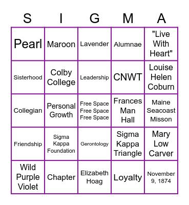 Sigma Kappa Bingo Card