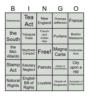 1.1-1.3 Review Bingo Card