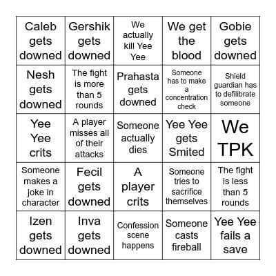 Fecil's Bingo Card Bingo Card