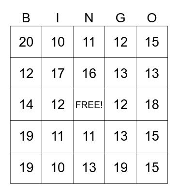 TRICKY TEENS Bingo Card