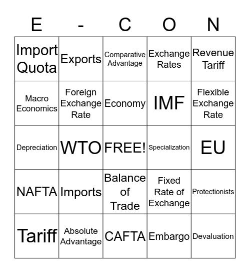 Chapter 18 E-CON Bingo Card