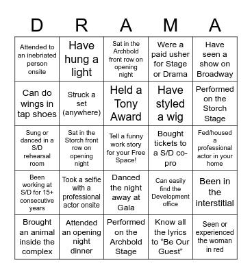 Stage - Drama Bingo Card