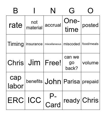 Monthly Close Bingo Card
