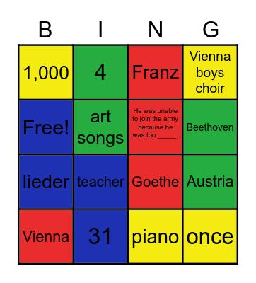 Composer of the Month: Schubert Bingo Card