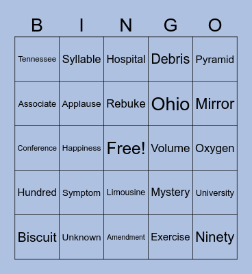 List 11 Bingo Card