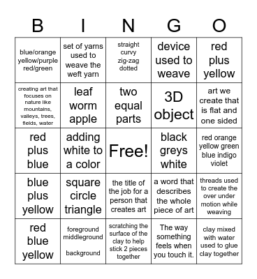 LS Art Terms and Facts Bingo Card