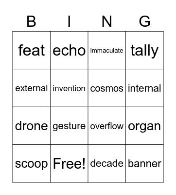 Journey To Imagee Vocab (episodes 1 & 2) Bingo Card