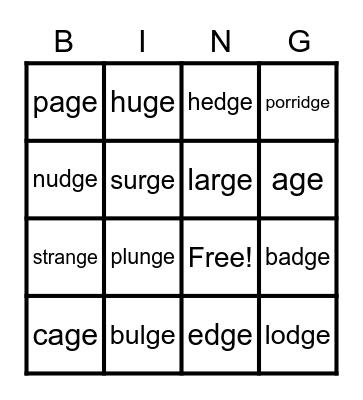 Cycle 16 -dge & -ge Bingo Card