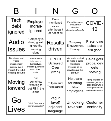 RIP Bonuses For Real Bingo Card